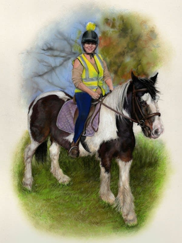 Horse and rider portrait in pastel