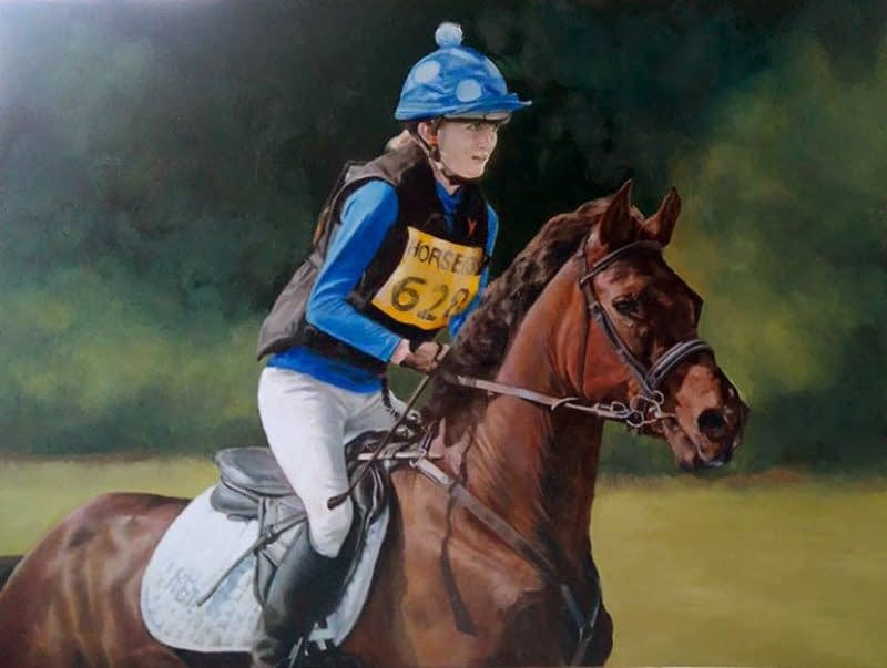 Horse and rider portrait in oils