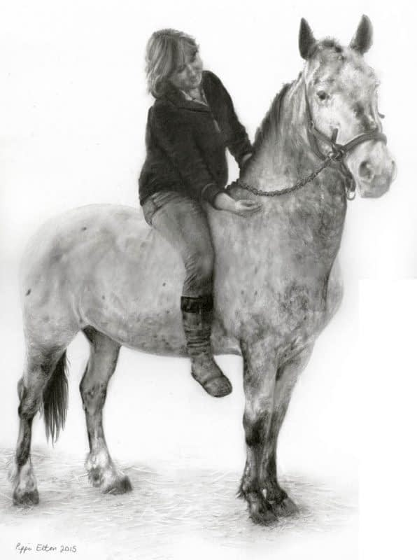 Horse and rider portrait in pencil