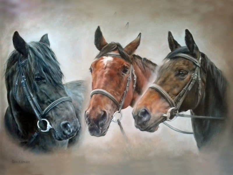 Triple horse oil painting