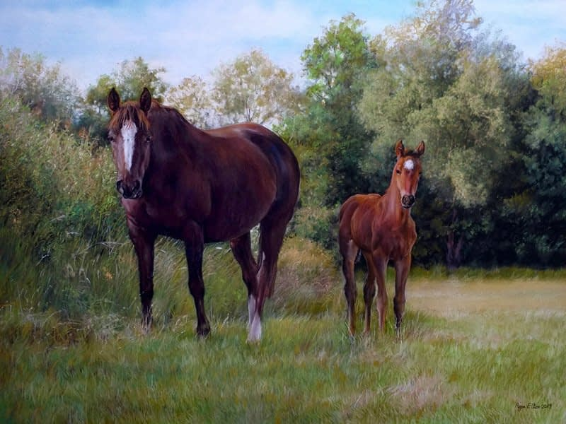 Horse and foal portrait in pastel